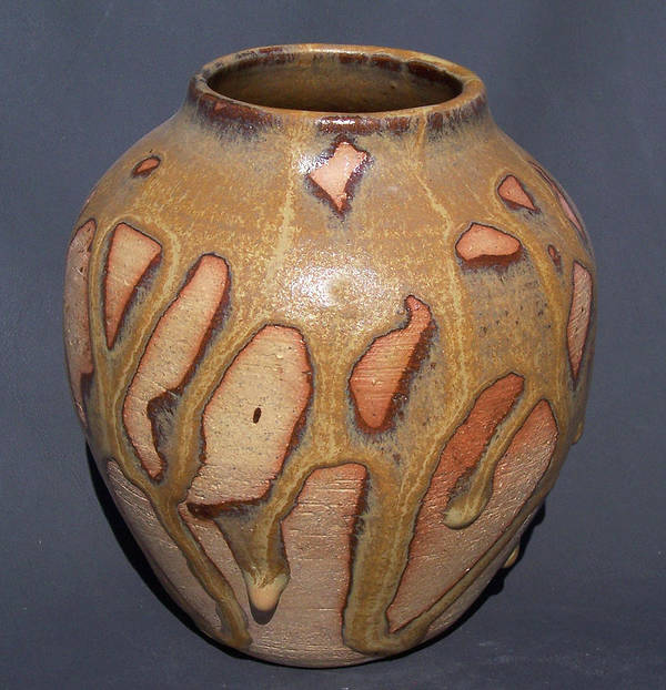 Clay Poster featuring the ceramic art Caramel Drizzle Wheel Thrown Pot by Carolyn Coffey Wallace