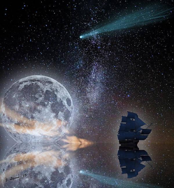 Caravel Poster featuring the digital art Caravel And Comet by Jose Antonio Lizana San Roman