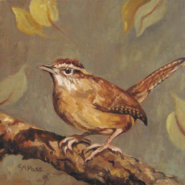 Bird Poster featuring the painting Carolina Wren by Cheryl Pass