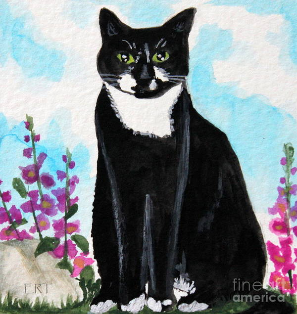 Cat Poster featuring the painting Cat In The Garden by Elizabeth Robinette Tyndall