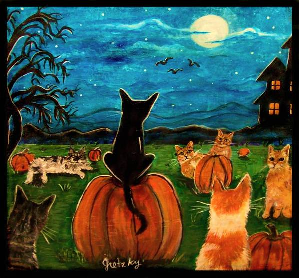 Cats Poster featuring the painting Cats In Pumpkin Patch by Paintings by Gretzky