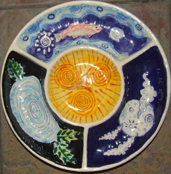 Celtic Poster featuring the ceramic art Celtic Spiral Chip And Dip by Angela Annas