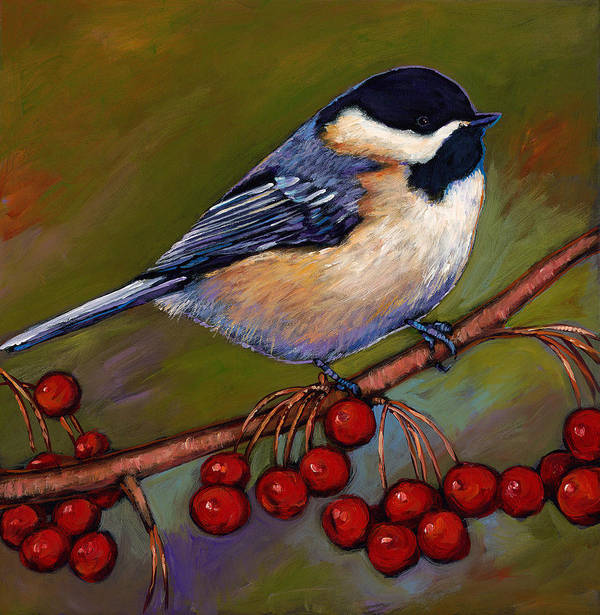 Wildlife Art Poster featuring the painting Cherries And Chickadee by Johnathan Harris
