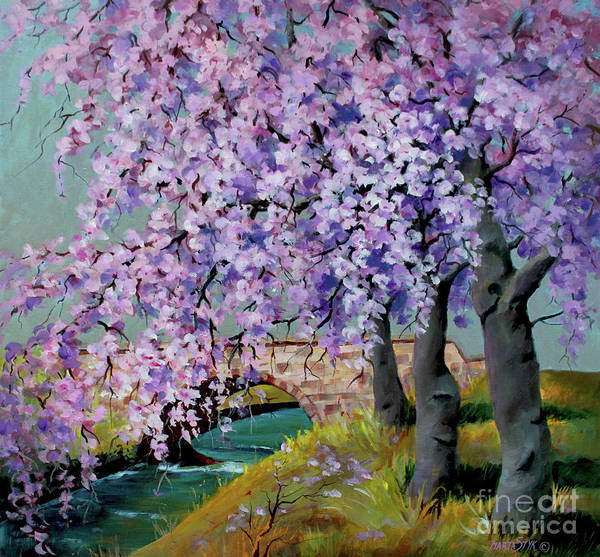 Landscape Poster featuring the painting Cherry Blossoms by Marta Styk