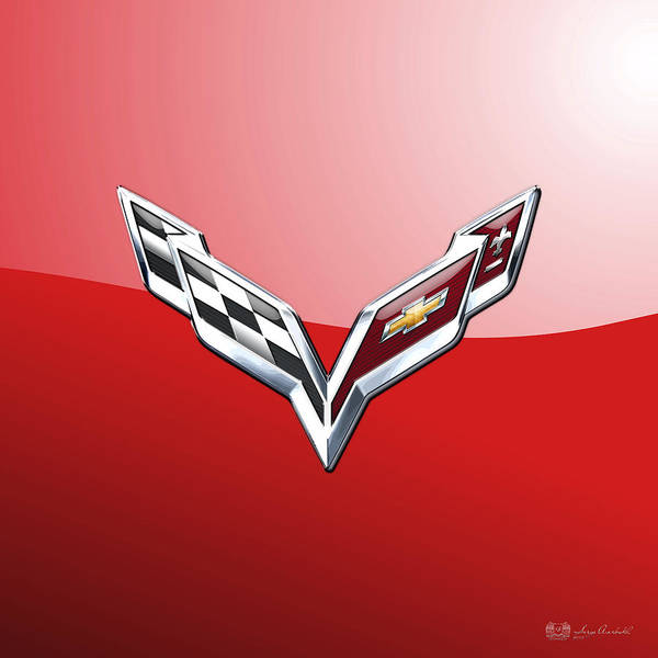 'wheels Of Fortune' Collection By Serge Averbukh Poster featuring the photograph Chevrolet Corvette - 3d Badge On Red by Serge Averbukh
