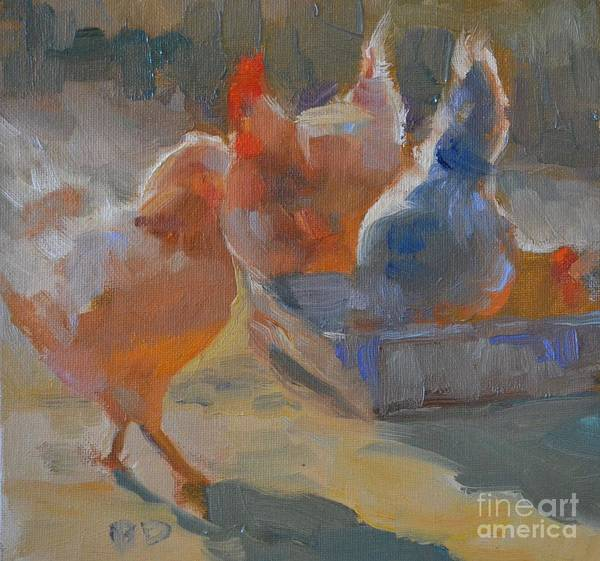 Animal Poster featuring the painting Chicken Feed by Barbara Daggett
