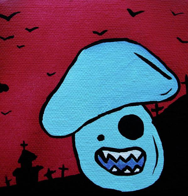 Zombie Poster featuring the mixed media Chomping Zombie Mushroom by Jera Sky