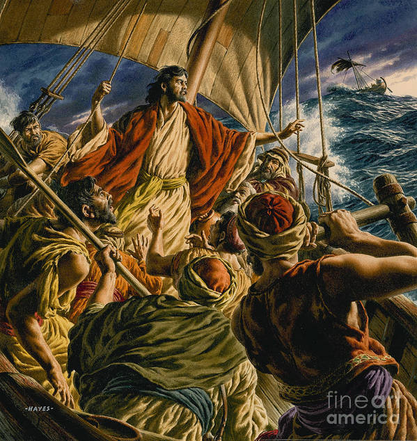 Christ Poster featuring the painting Christ On The Sea Of Galilee by Jack Hayes