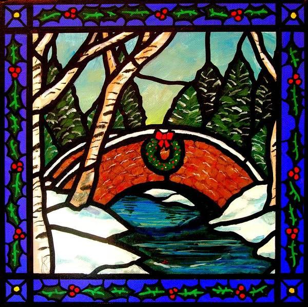 Bridge Poster featuring the painting Christmas Bridge by Jim Harris