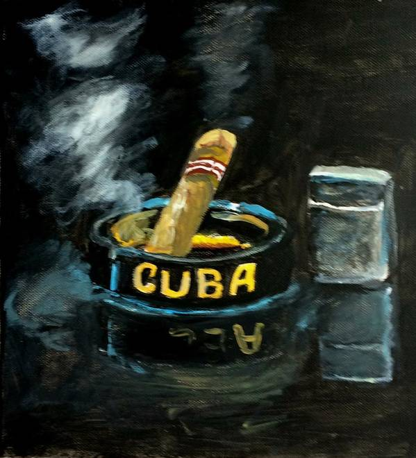 Still Life Poster featuring the painting Cigar by Inessa Guterman