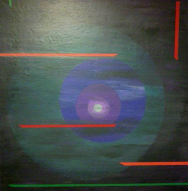 Circle Landscape Abstract Space Poster featuring the painting Circle Gets The Square by Sally Van Driest