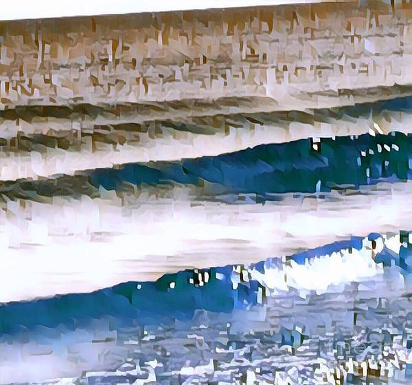Water Poster featuring the digital art Color Movement-blue And Beige by Brenda Plyer