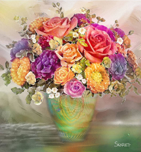 Flower Poster featuring the painting Colorful Flowers by Skarlett Pancheva
