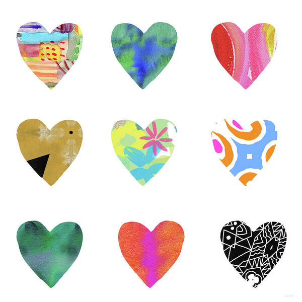 Hearts Poster featuring the mixed media Colorful Hearts- Art by Linda Woods by Linda Woods