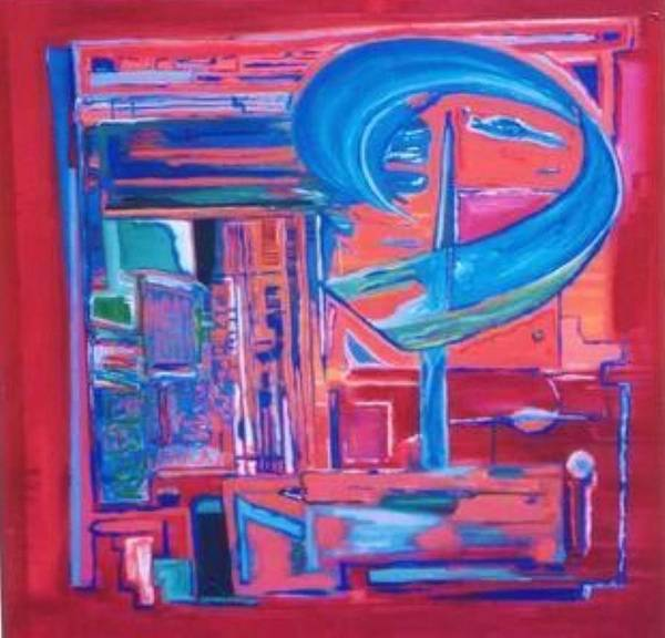 Red Poster featuring the painting Composicion Azul by Michael Puya