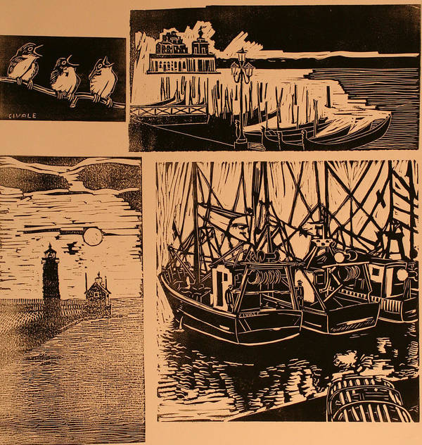 Poster featuring the print Composite of four woodcuts by Biagio Civale