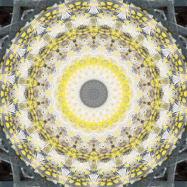 Concrete Poster featuring the painting Concrete and Yellow Mandala- Abstract Art by Linda Woods by Linda Woods