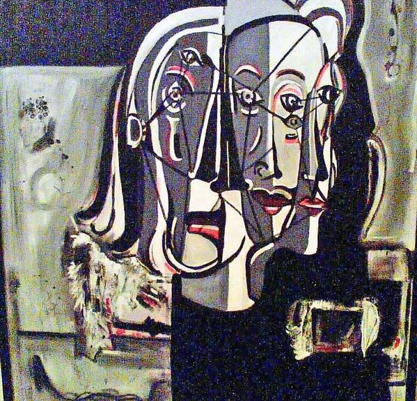 Abstract Portrait Modern Art Poster featuring the painting Connected by DC Campbell