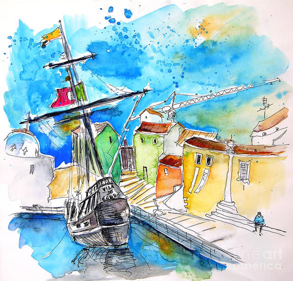 Portugal Poster featuring the painting Conquistador Boat In Portugal by Miki De Goodaboom
