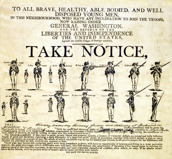18th Century Poster featuring the photograph Continental Army Recruitment Broadside by Everett