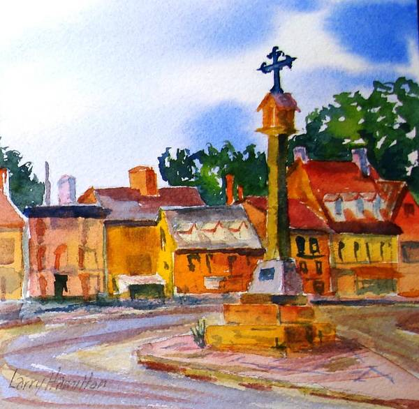 Watercolor Poster featuring the painting Cotswolds Town Center by Larry Hamilton
