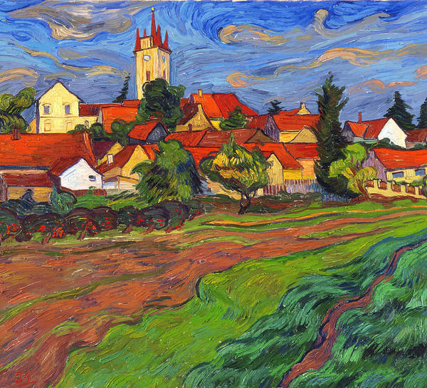 Landscape Poster featuring the painting Country with the red roofs by Vitali Komarov