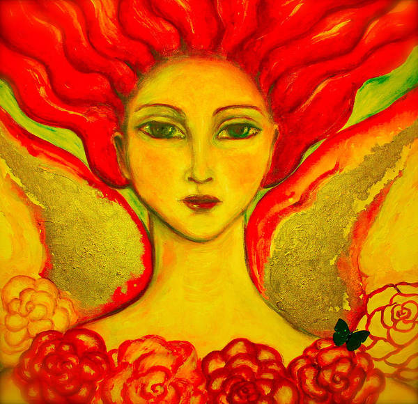 Angel Poster featuring the painting Courage by Shoshanna Lightsmith