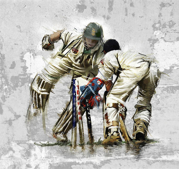 English Poster featuring the painting Cricket1 by James Robinson