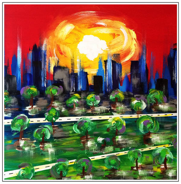 Cityscape Poster featuring the painting Crowded City by Mac Worthington