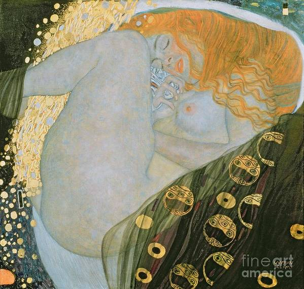 Danae Poster featuring the painting Danae by Gustav Klimt