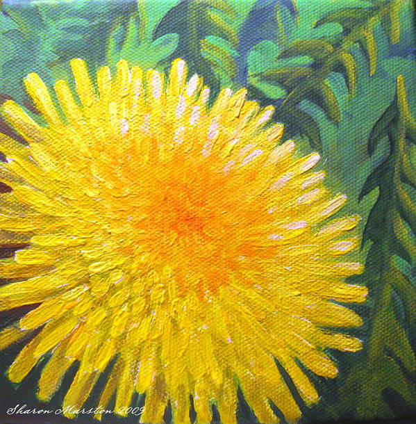Dandelion Poster featuring the painting Dandelion by Sharon Marcella Marston
