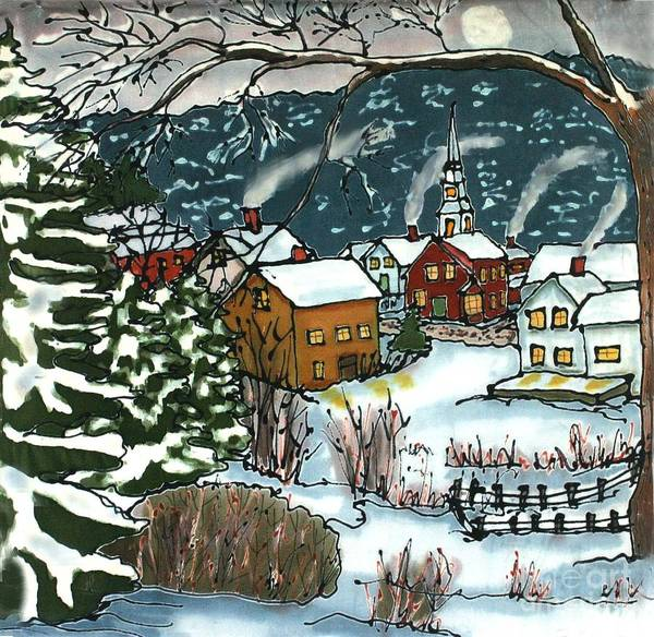 Village Poster featuring the painting December Village Silk Painting by Linda Marcille