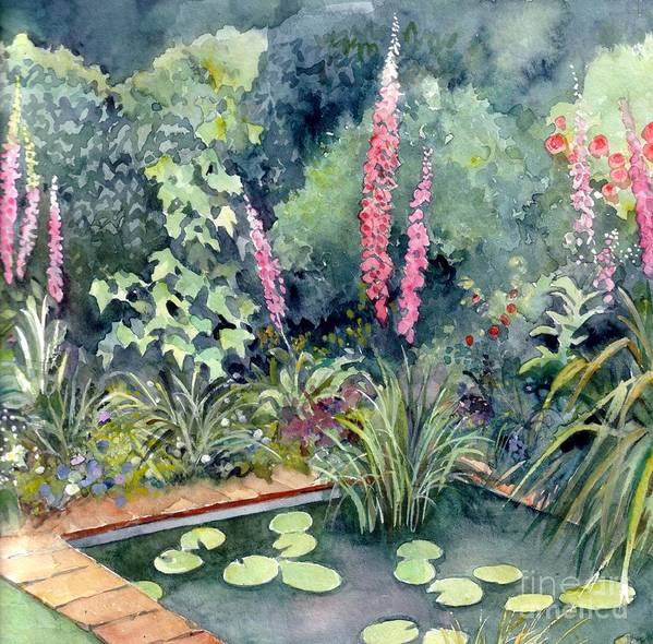 Gardenscape Poster featuring the painting Delphiniums by Val Stokes