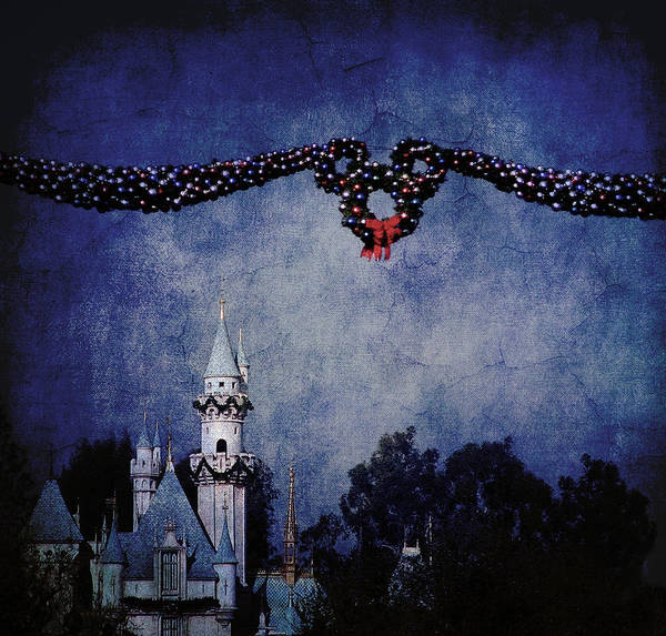 Disneyland Poster featuring the photograph Disneyland Castle At Christmas Time by Dorothy Lee
