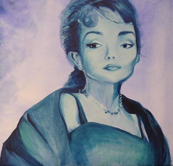 Maria Callas Poster featuring the painting Diva I Maria Callas by Lizzy Forrester