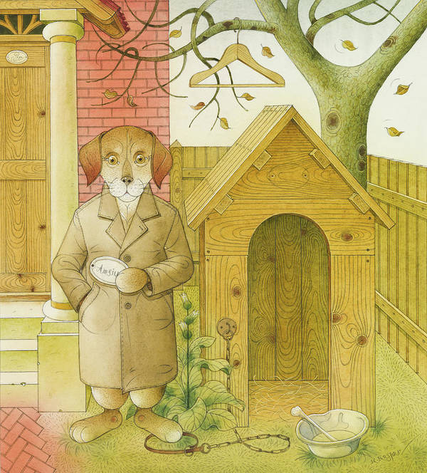 Dog Life Book Illustration Children Tree House Animals Poster featuring the painting Dogs Life02 by Kestutis Kasparavicius