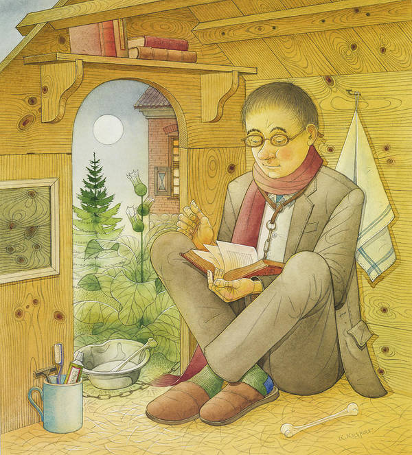 Illustration Dog Life Lifestyle House Night Moon Illustration Children Books Drawing Relax Reading Books Poster featuring the painting Dogs Life07 by Kestutis Kasparavicius