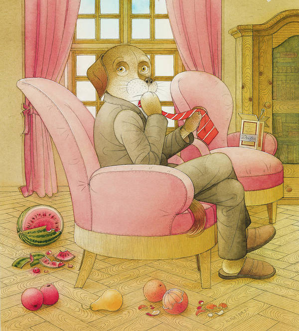 Dog Life Lifestyle Room Apartments Armchair Red Illustration Children Book Drawing Suit Poster featuring the painting Dogs Life09 by Kestutis Kasparavicius