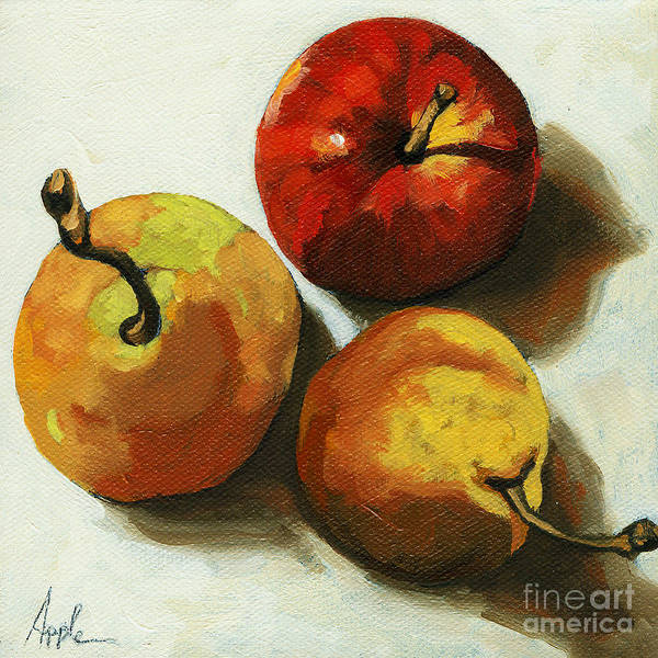 Fruit Poster featuring the painting Down on Fruit - pears and apple still life by Linda Apple