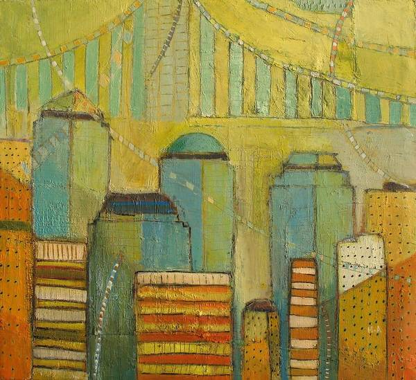 Poster featuring the painting Downtown Manhattan by Habib Ayat