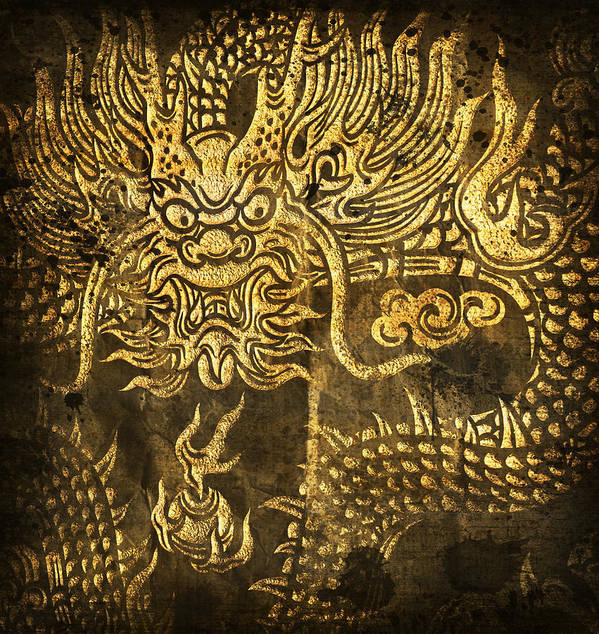 Abstract Poster featuring the digital art Dragon Pattern by Setsiri Silapasuwanchai