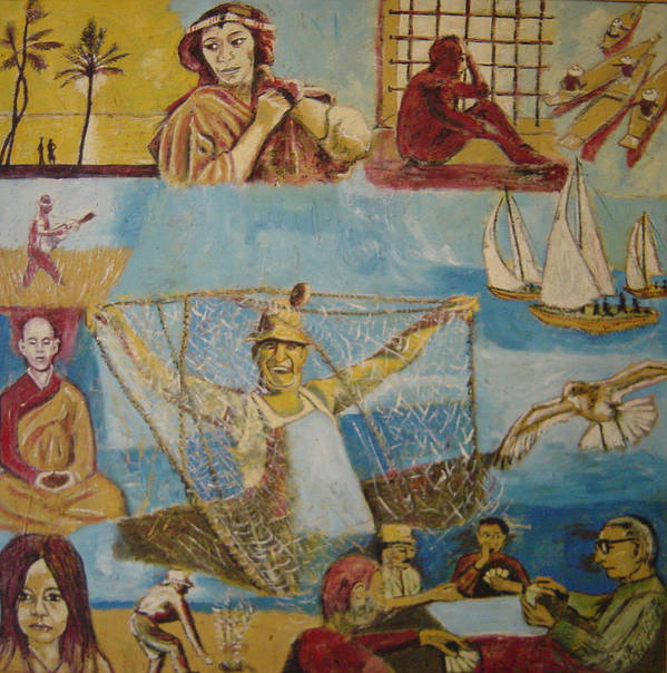 Poster featuring the painting Dream of the fisherman by Biagio Civale
