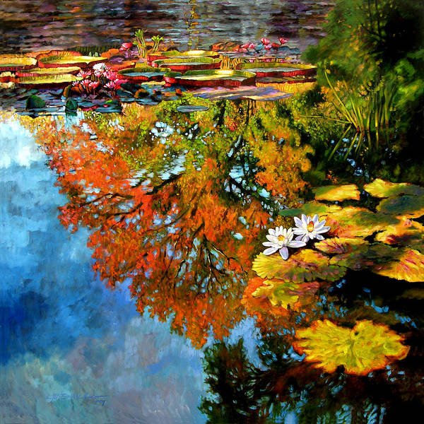 Landscape Poster featuring the painting Early Morning Fall Colors by John Lautermilch
