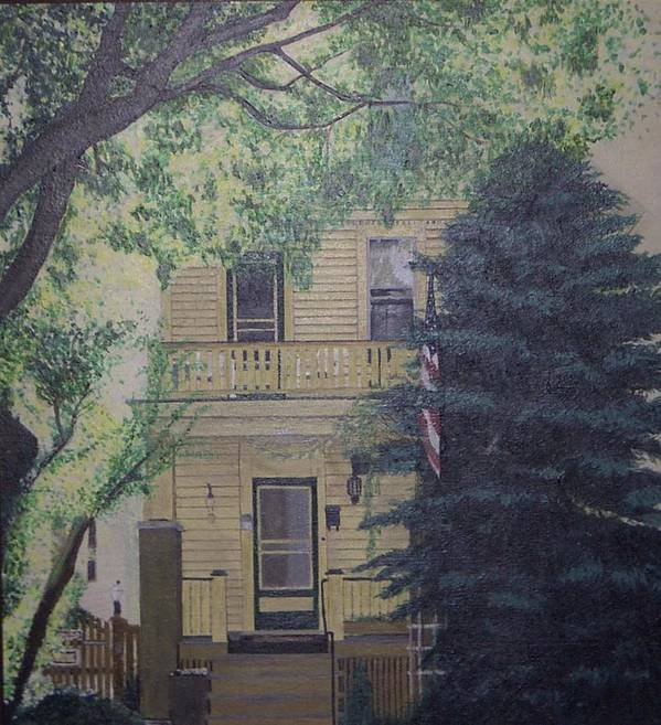House Landscape Milwaukee Wi Poster featuring the painting East-side Living by Sally Van Driest