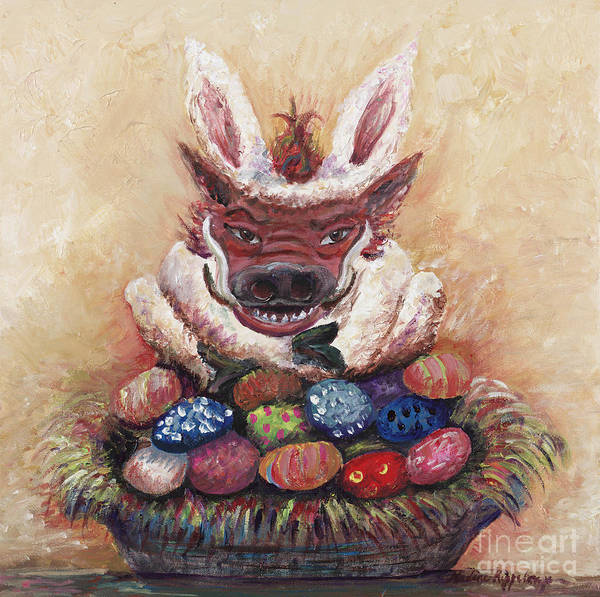 Easter Poster featuring the painting Easter Hog by Nadine Rippelmeyer