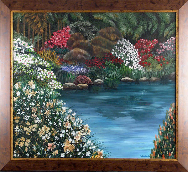 Landscape.water Poster featuring the painting Eden by Helene Lagoudakis
