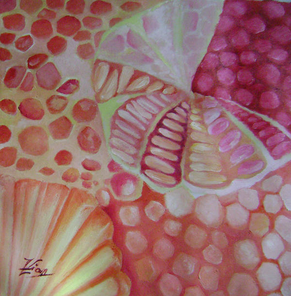 Abstract Poster featuring the painting Edible Gems 2 by Lian Zhen