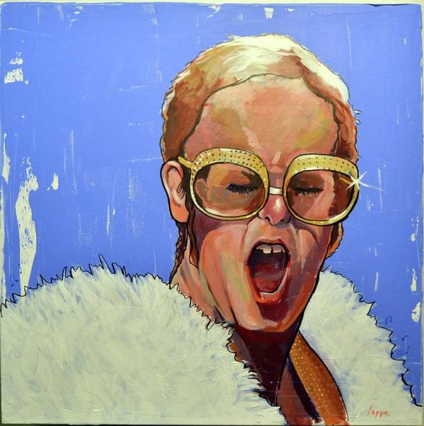 Elton John Poster featuring the painting Elton John 1970s by Steve Lappe