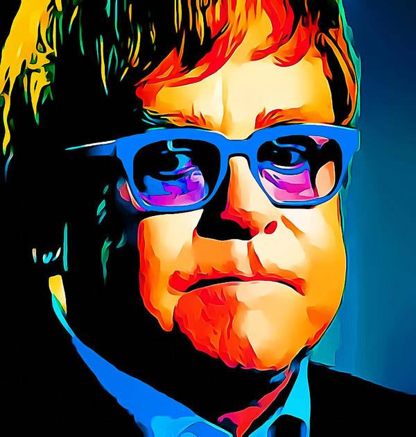 Elton Poster featuring the digital art Elton John Blue Eyes Portrait by Yury Malkov