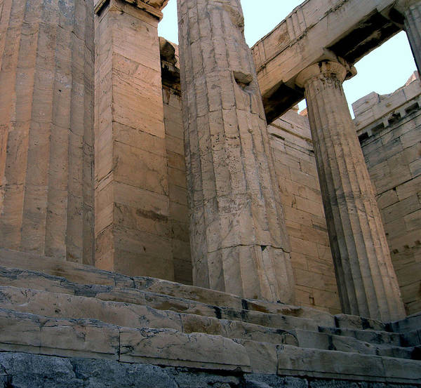 Columns Poster featuring the photograph Entrance To Past Life  Acropolis by Blima Efraim